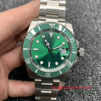 No LOGO Watch Men 40mm Men's Automatic Mechanical Watch Green Ceramic Bezel Steel Case Sapphire Glass sterile Wristwatch