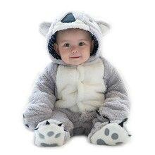Śpioszki niemowlęce chłopięce dziewczyny kombinezon odzież dla noworodka z kapturem maluch ubranka dla dzieci śliczne Koala Romper kostiumy dla dzieci
