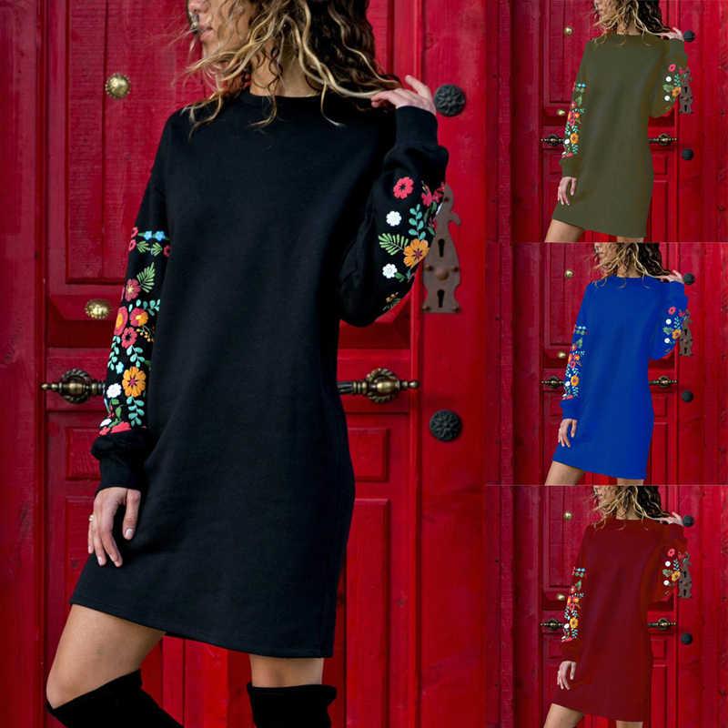 Nouveau automne hiver femmes robe O cou genou longueur à manches longues robes courtes broderie florale sweat vêtements de fête S-XL