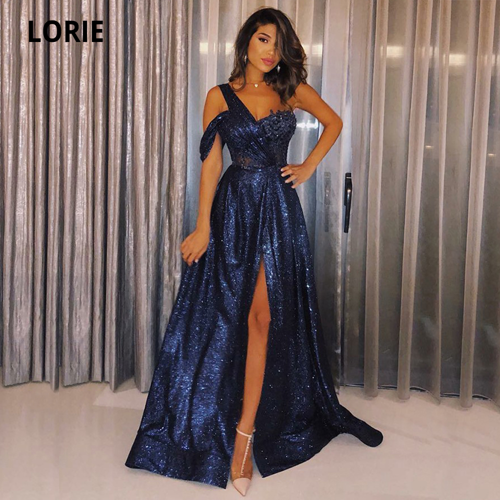 LORIE Shiny Navy Blue Formal Evening Gowns Plus Size 2020 Glitter Sparkle One Shoulder Sleeve Long Prom Beach Party Dresses