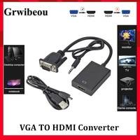 Grwibeou-Cable adaptador VGA macho a HDMI hembra, convertidor con Audio de 3,5mm, 1080P, VGA a HDMI para PC, portátil a proyector HDTV