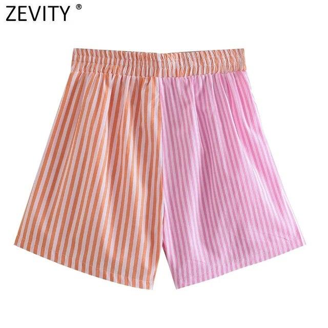 Zevity Women Fashion Patchwork Striped Print Casual Hot Bermuda Shorts Female Chic Elastic Waist Summer Pantalone Cortos P1086 2