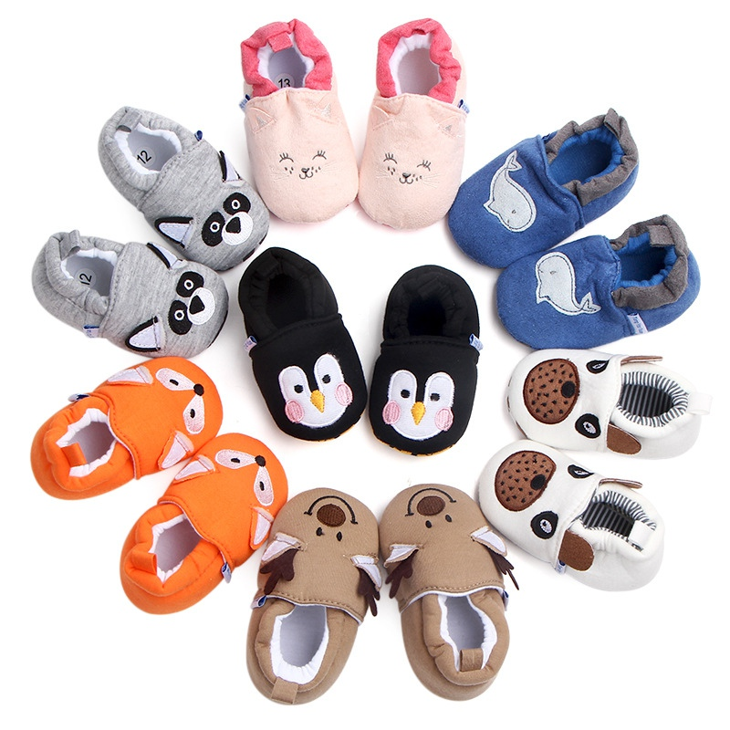 Newborn Baby First Walker Shoes Girls Boy Shoes Cartoon Animals Cotton Crib Shoe Toddler Soft Sole Anti-slip Baby Infant Shoes