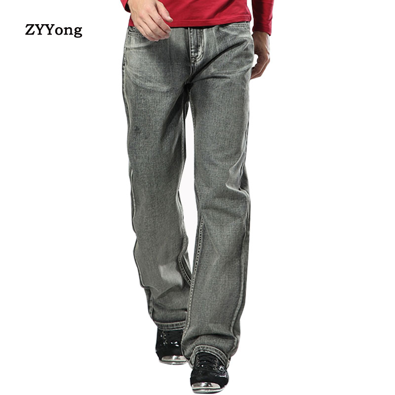 New 2020 Men Wide Leg Denim Pants Hip Hop Gray Casual Jeans Trousers Baggy Jeans For Rapper Skateboard Relaxed Jeans
