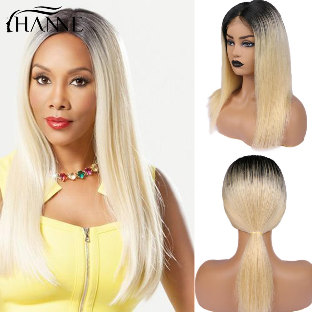 HANNE 4*4 Lace Closure Human Hair Wigs Ombre #613 Blonde Color For Women Brazilian Straight Human Hair Glueless Lace Wig 150%