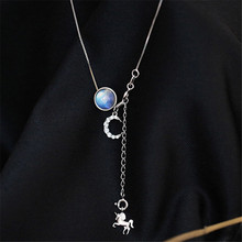 925 sterling silver Pendant necklace Young girl heart dream round pearl crystal Womens fashion jewelry