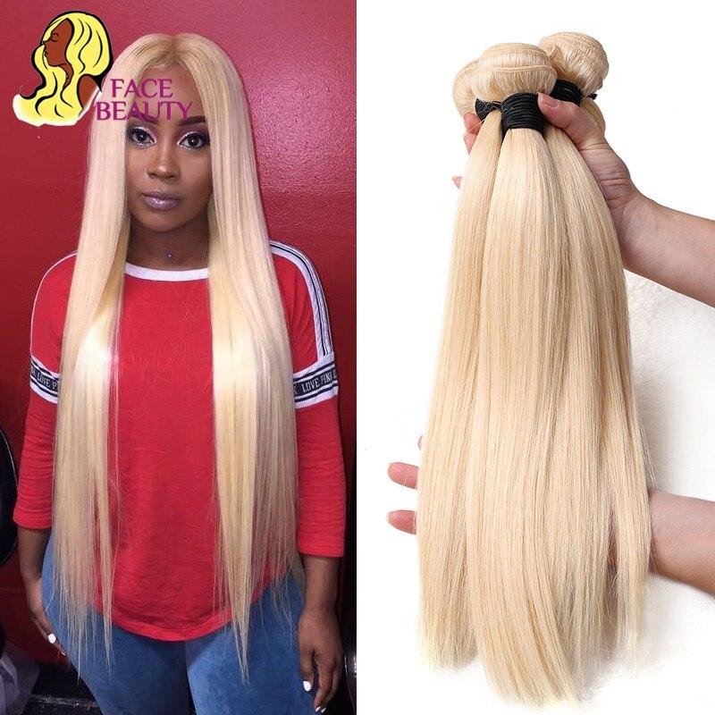Tissage en lot brésilien naturel Remy lisse blond 613-Facebeauty | 26 28 30 32 34 36 38 40 pouces, trame de cheveux, 1/3/4, livraison gratuite