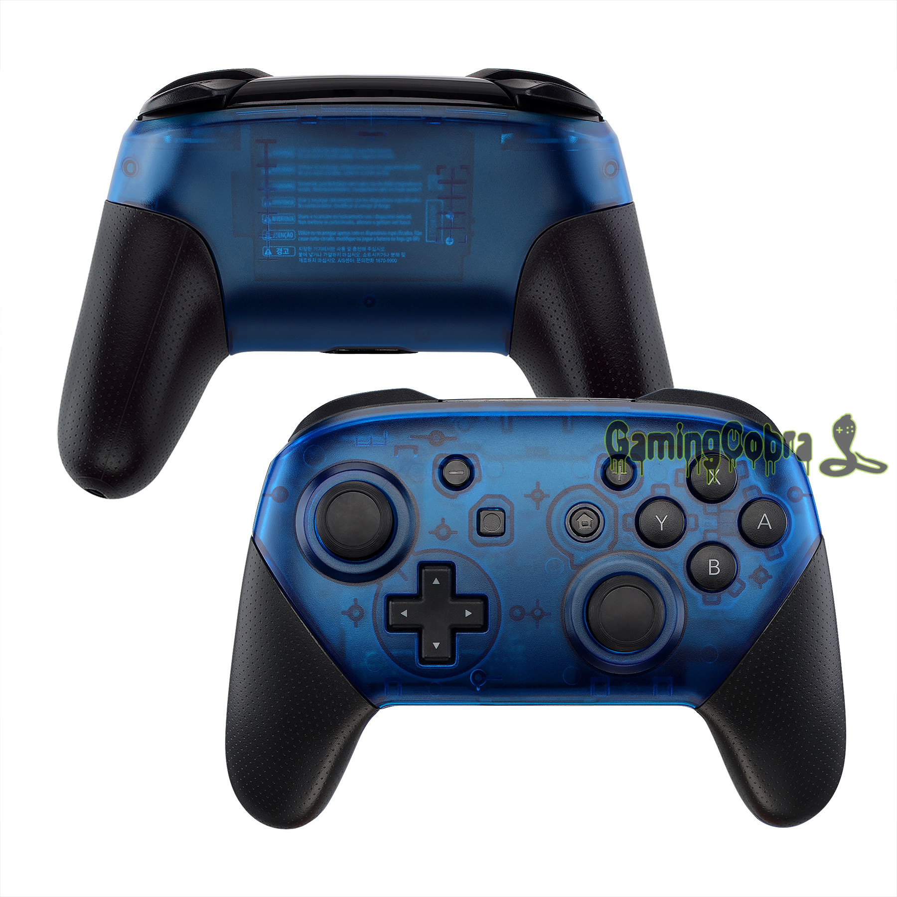 Transparent Blue Faceplate And Backplate Replacement Shell Housing Case Cover For Nintendo Switch Pro Controller