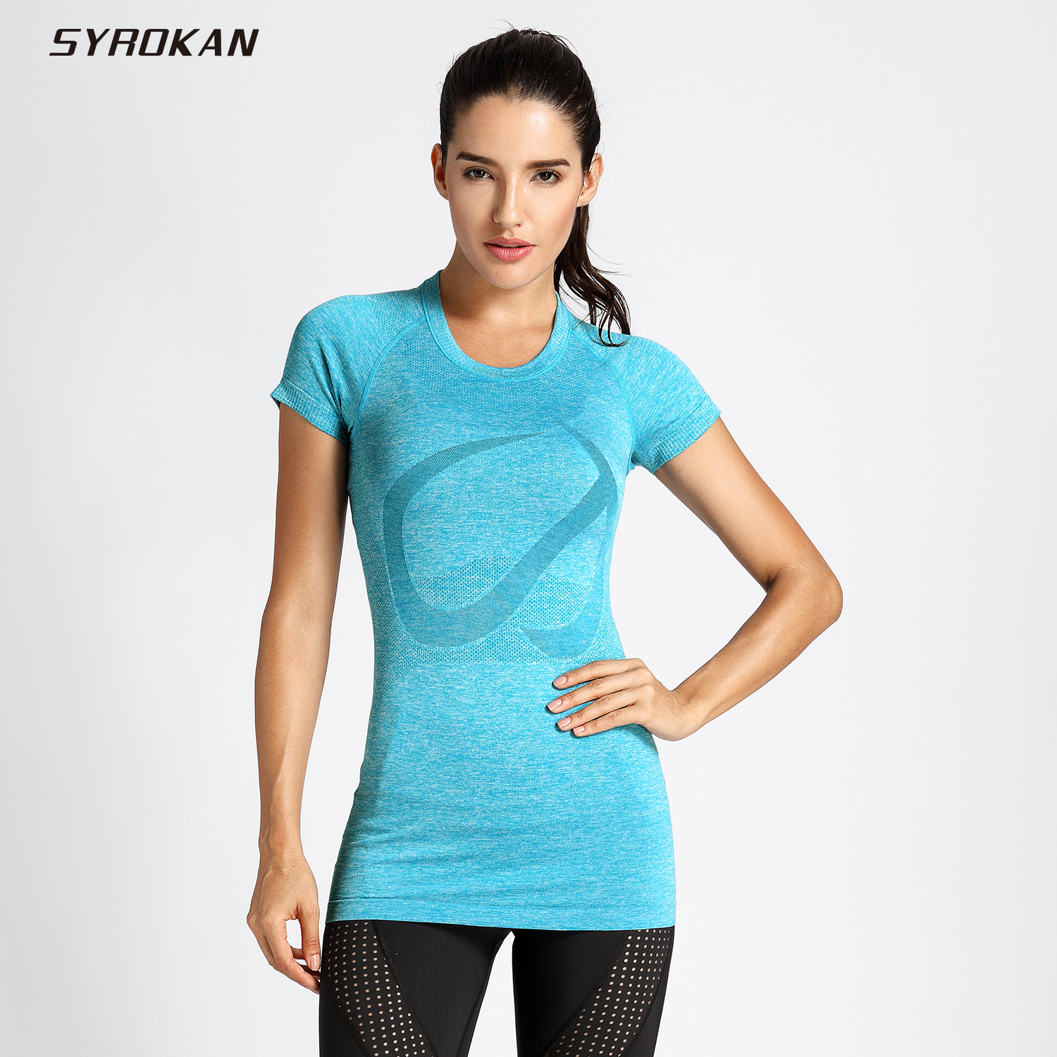 SYROKAN Women's Active Sports Tee Seamless Short Sleeve Performance T-shirt