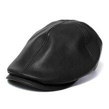 Female Male Beret Hat Leather Cap Trucker Visor Unisex Bonnet Black