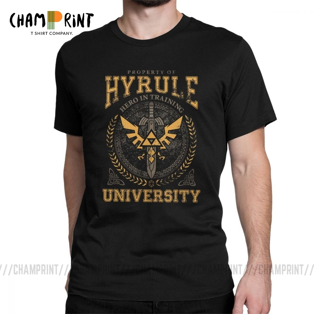 Hyrule University Men's T Shirts The Legend Of Zelda Funny Tee Shirt Short Sleeve T-Shirt Pure Cotton Plus Size Clothing