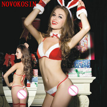 JS1 7 Pieces Sexy Christmas Costume Set Red With White Wetlook Velvet Bunny Cosplay Halloween Uniform With White Red Rabbit Ear xb17 2018 sexy christmas costume red white wetlook faux leather exotic dress cosplay halloween uniform with white fur red hat