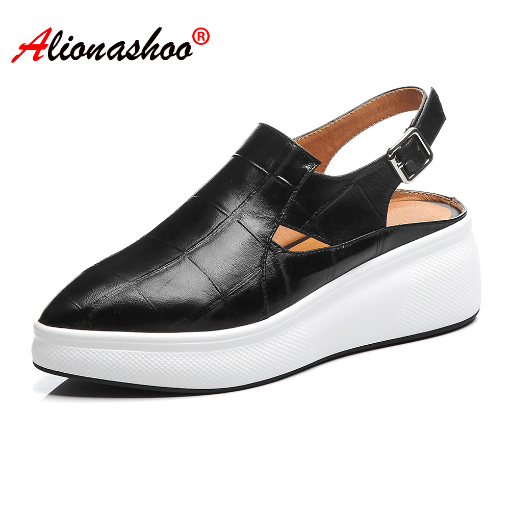 Womens Slingback Flat Shoes Thick Soled Women Casual Shoes Buckle Strap Shoes Ladies 2020 Spring Summer Female Leisure Shoes 39
