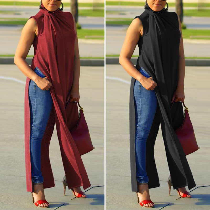 Womens High Split Blouse ZANZEA Elegant Summer Long Tops Casual Sleeveless Turtleneck Shirts Female Button Blusas Plus Size