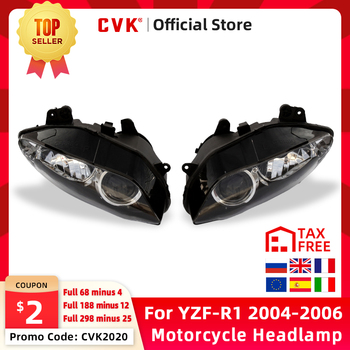 CVK Motorcycle Headlight Headlamp Head Light For YAMAHA YZF 1000 R1 2004 2005 2006 YZF-R1 04 05 06 Head Lamp Headlight assembly upper front fairing cowl nose for yamaha yzf r1 yzf r1 2004 2006 2005 motorcycle accessories