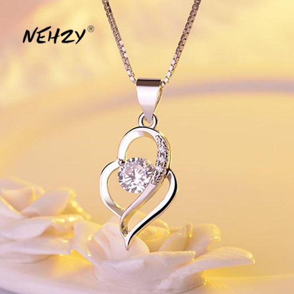 NEHZY 925 sterling silver nuovi monili di modo della donna di alta qualità di cristallo zircone a forma di cuore cavo pendente collana di lunghezza 45cm
