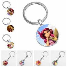 2019 Hot Selling European and American Anime Mia and My Glass Cabochon Key Chain Fashion Gem Keychain Wholesale god is my refuge and strength a very present help in trouble key chain glass cabochon god jewelry bible verse key rings