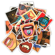 50pcs Styling Tease Vulgar Sexy Beauty Girls Stickers PVC Waterproof For Laptop Motorcycle Skateboard Luggage Decal Toy Sticker