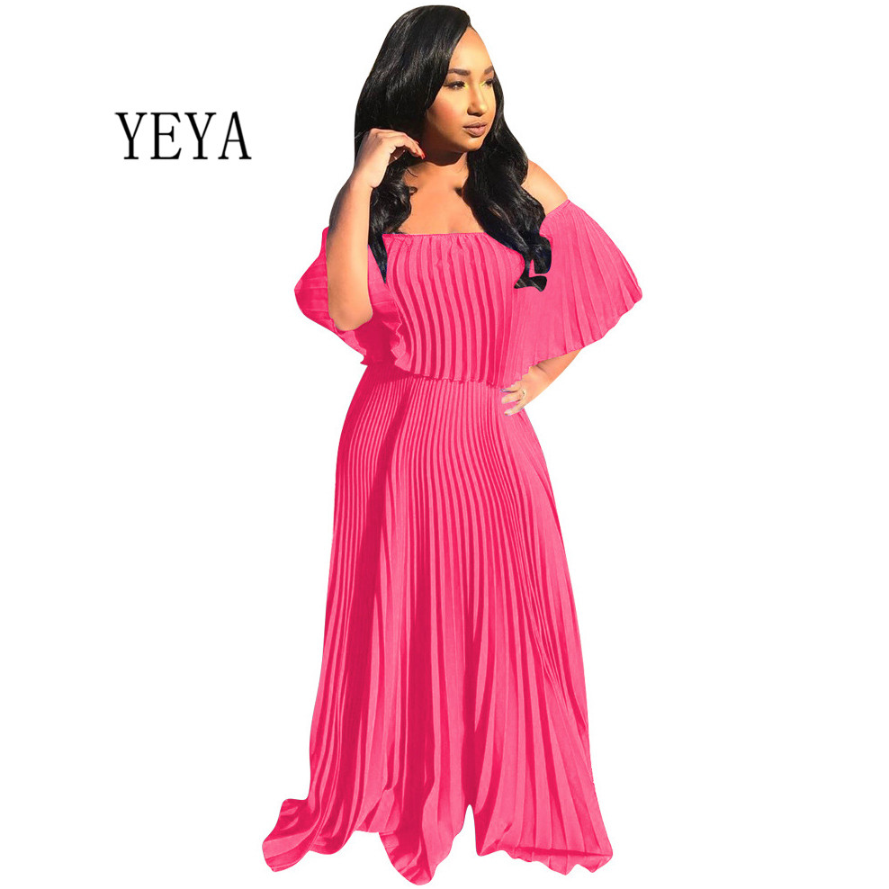 YEYA Off The Shoulder Flounce Pleated Girls Sexy Chiffon Dress Women Autumn Loose Fashion Party Club Elegant Maxi Dresses