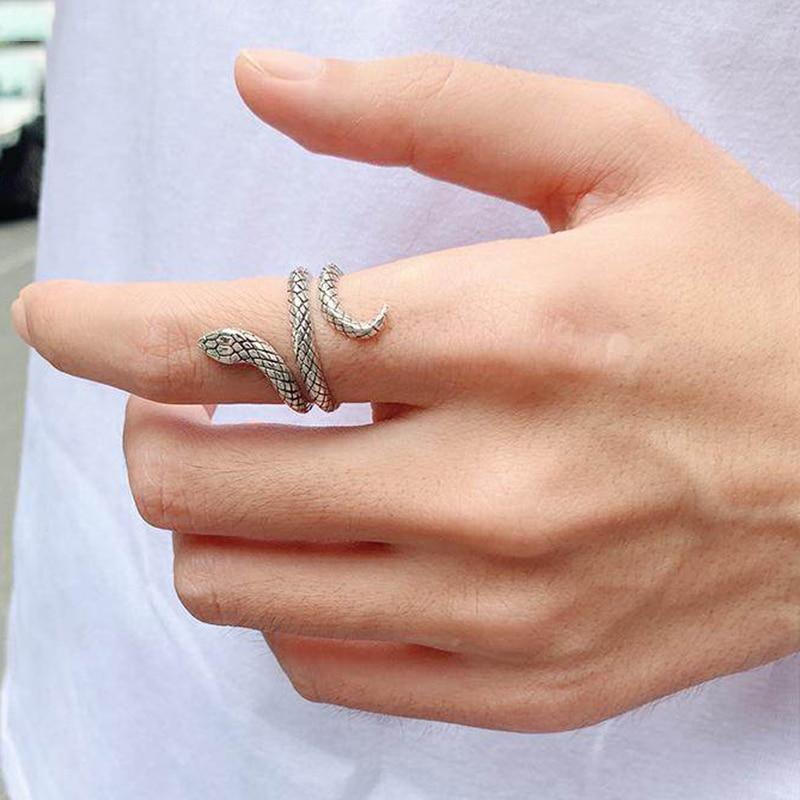 1 шт., ретро панк, преувеличенное кольцо в виде змеи, модное персональное стереоскопическое Новое модное кольцо в виде змеи, регулируемое кол...