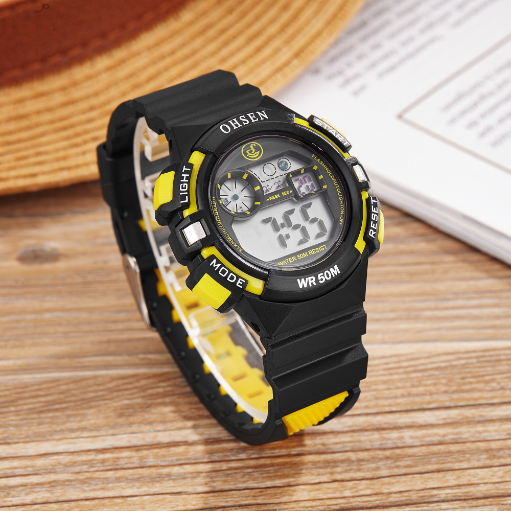 OHSEN Digital LED Kids Boy Wristwatch Outdoor Sport Waterproof Silicone Watch Children Student Fashion Yellow Electronic Watch