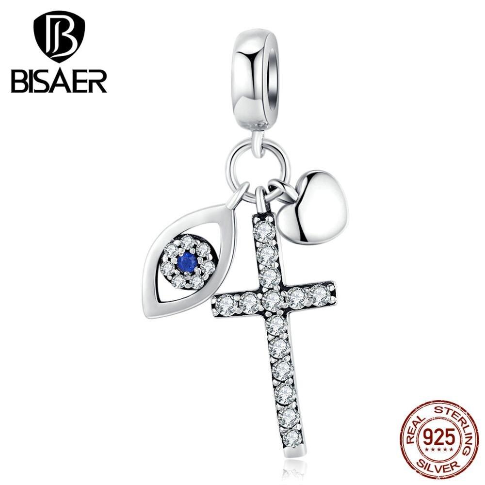 Lucky 925 Sterling Silver Guardian Eyes Beads Blue Eyes & Cross Zircon Charms fit Women Bracelets Silver 925 Jewelry ECC1327