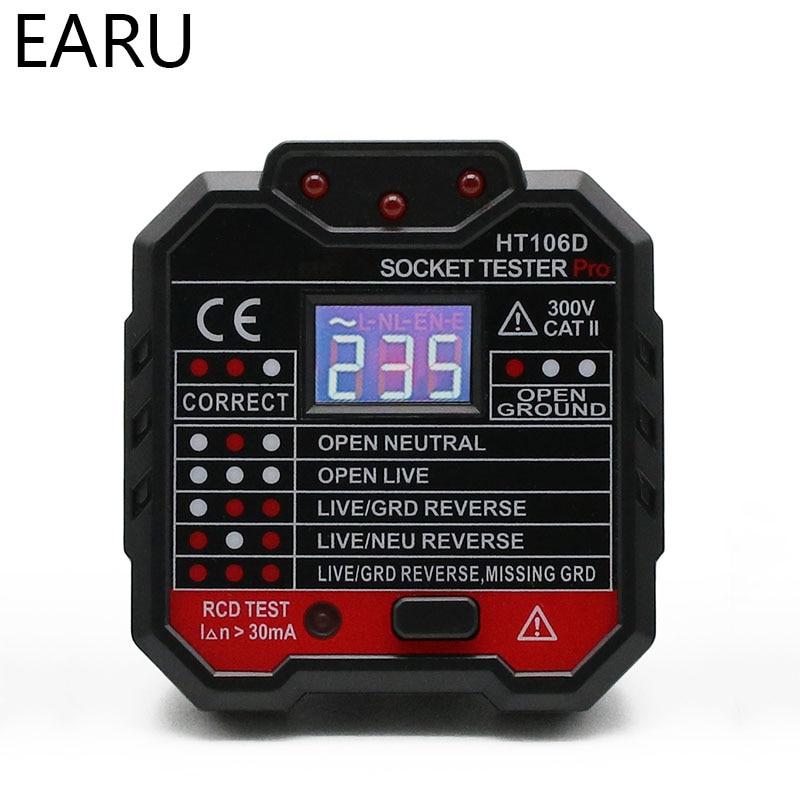 EU US UK Digital Display Plug Socket Tester Neutral Earth Wire Circuit Polarity Phase Eletric Leakage Detector Voltage Test Volt