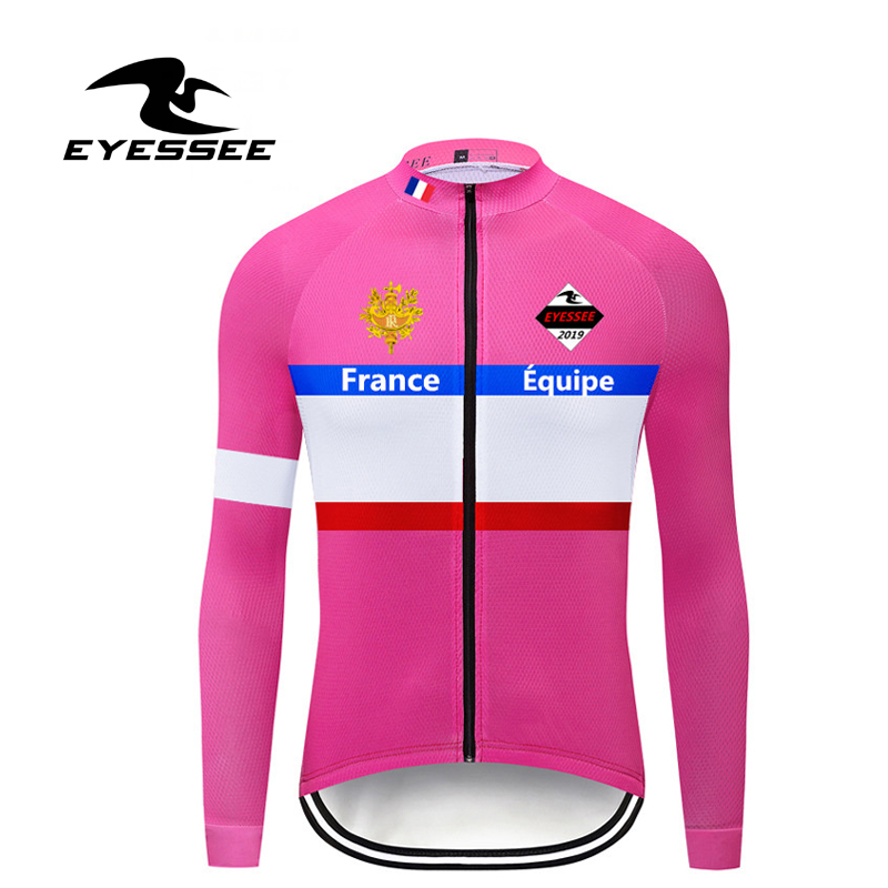 Pink Cycling Jersey Long-Sleeve Ciclismo Team-Ropa Pro MTB Men EYESSEE Men's