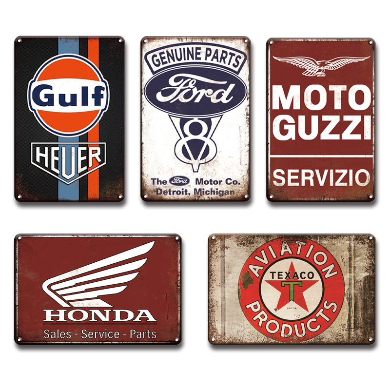 Shabby Chic Ford Vespa Service Metal Plaque Tin Signs Vintage Garage Home Wall Decor Retro Esso Gulf Oil Good Year Art Poster|Plaques & Signs| |  - title=