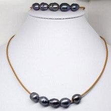 """wholesale_jewelry_set настоящий черный жемчуг камень ручной работы коричневый кожаный браслет кулон ожерелье 18"""""""