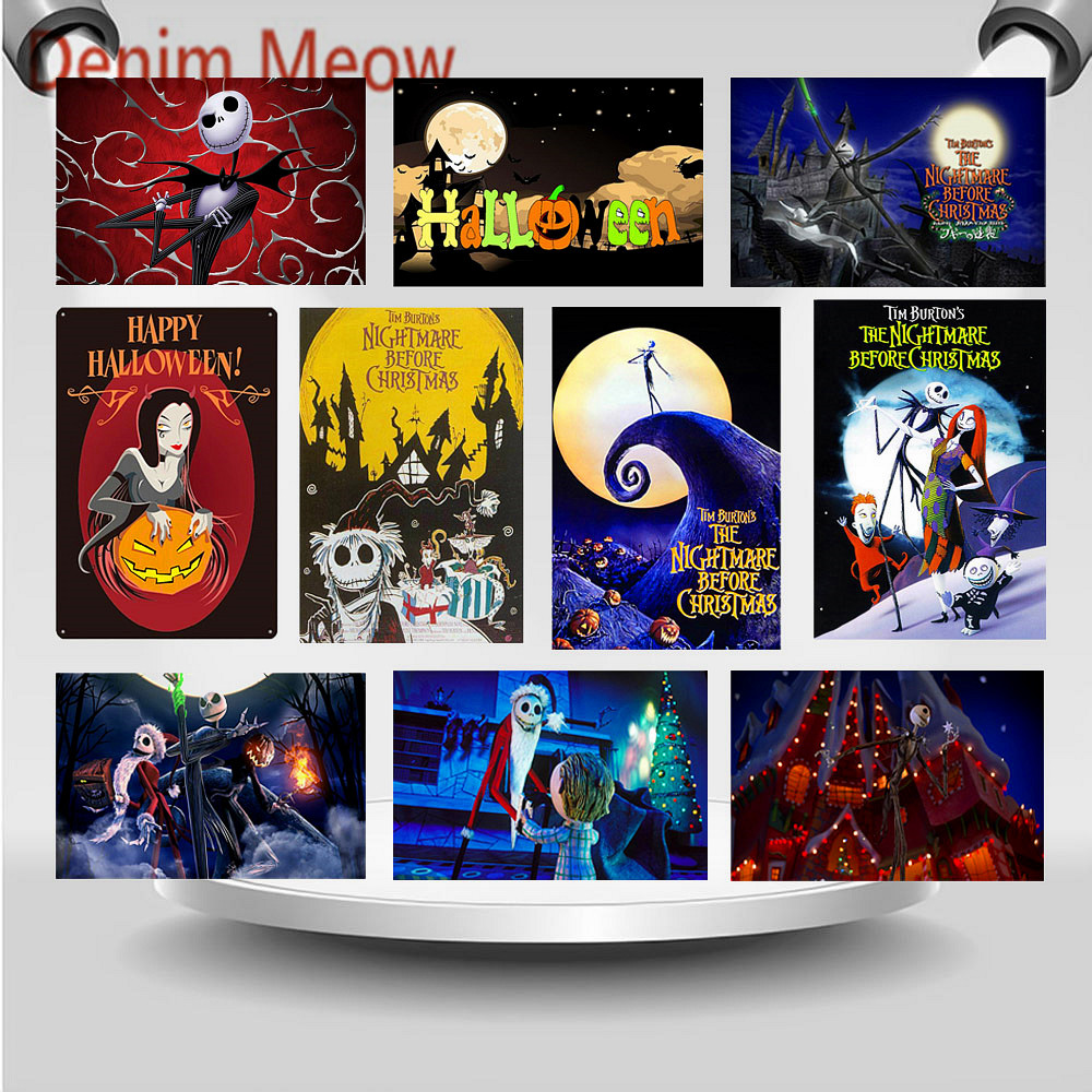 The Nightmare Metal Signs Happy Great Pumpkin Festival Vintage Halloween Party Wall Art Stickers Before Christmas Plaque WY94