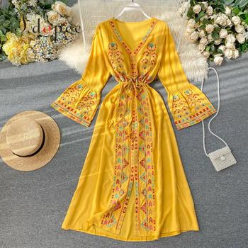 Elegant Dress National Style Embroidery Temperament Collect Waist Show Thin Beach Style Vestidos Solid Color Plus Size Dress 1