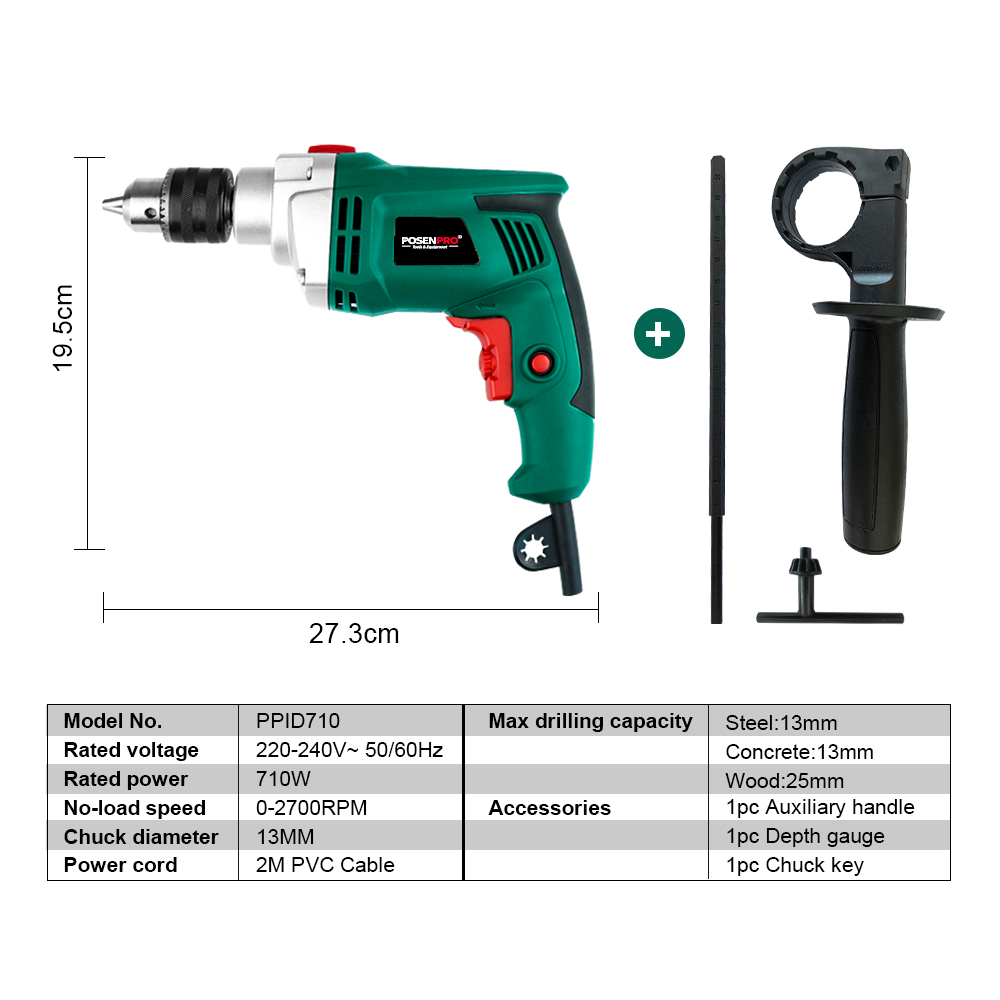 Power Speed Multi 710W Impact Drill Drill Drill Electric Tool Woodworking Function Hammer Adjustable
