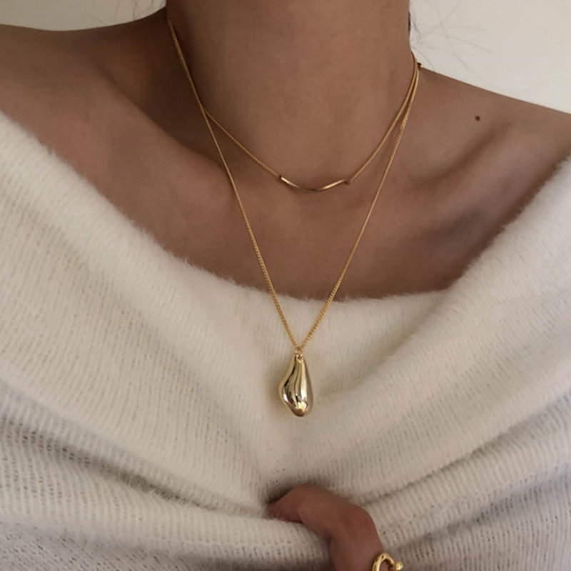 Peri'sBox 2Pcs/Set Waterdrop Irregular Necklaces Wave Shape Gold Necklaces for Women Minimalist Abstract Necklace Everyday 2020