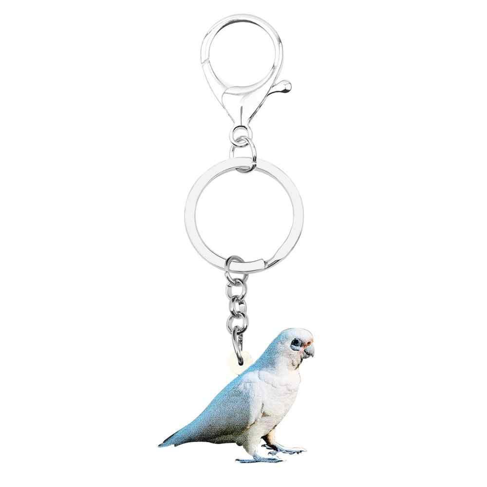 Bonsny akrylowe i same oczy kakadu papuga ptak kółka do breloków na klucze śliczne brelok ze zwierzętami dla pani dziewczyny mężczyźni samochód torebka torba dekoracje