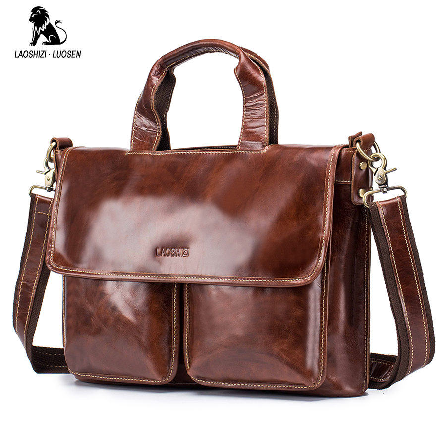 LAOSHIZI LUOSEN Fashion Brand Business Men Briefcase Bag Leather Laptop Bag Casual Man Bag Shoulder Bags Hasp Soft Handle Bags