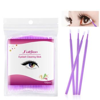 Hot Natural Eyelashes Tattoo Removal Micro Brush Kit New 100 Pcs Disposable Colorful Cotton Swabs Eyelash Brushes Cleaning Swab