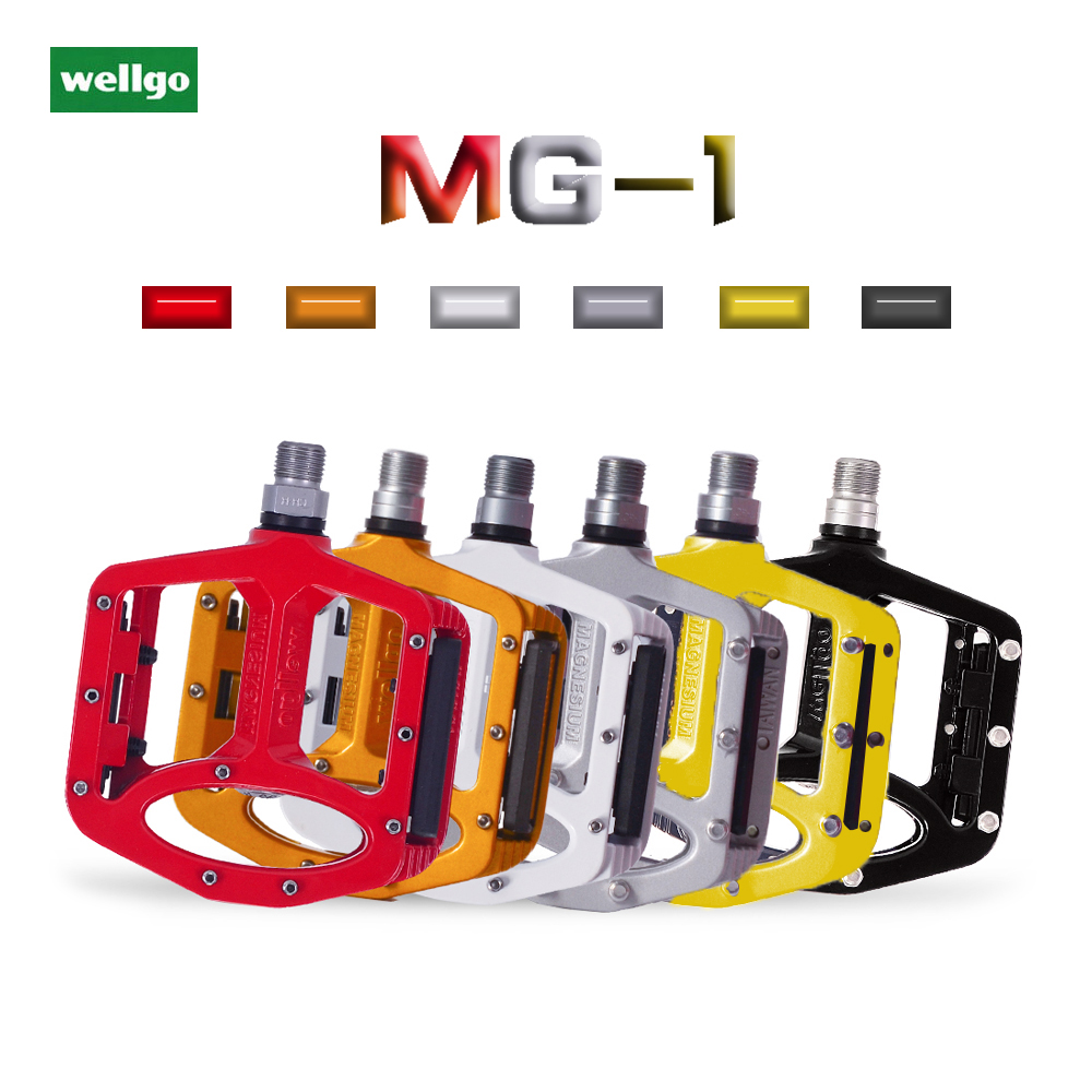 New Wellgo MG-1 Titanium Axle Spindle MTB BMX Bike Pedals US SELLER White