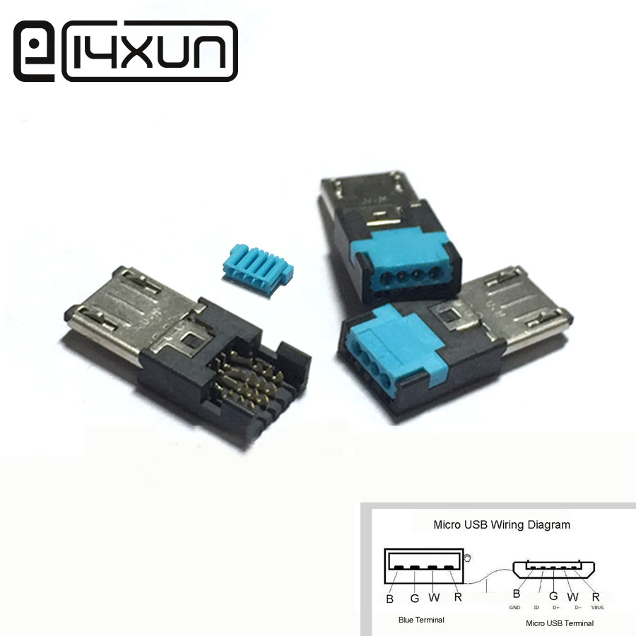 EClyxun Free Welding MICRO USB 5Pin Plug To 4P Wire Interface Connector Charging Plugs For Samsung Phone Ect