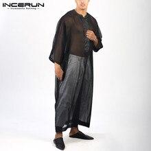 INCERUN Men Clothing Caftan-Robes Jubba Thobe Arabic Muslim Man Fashion Mesh Patchwork
