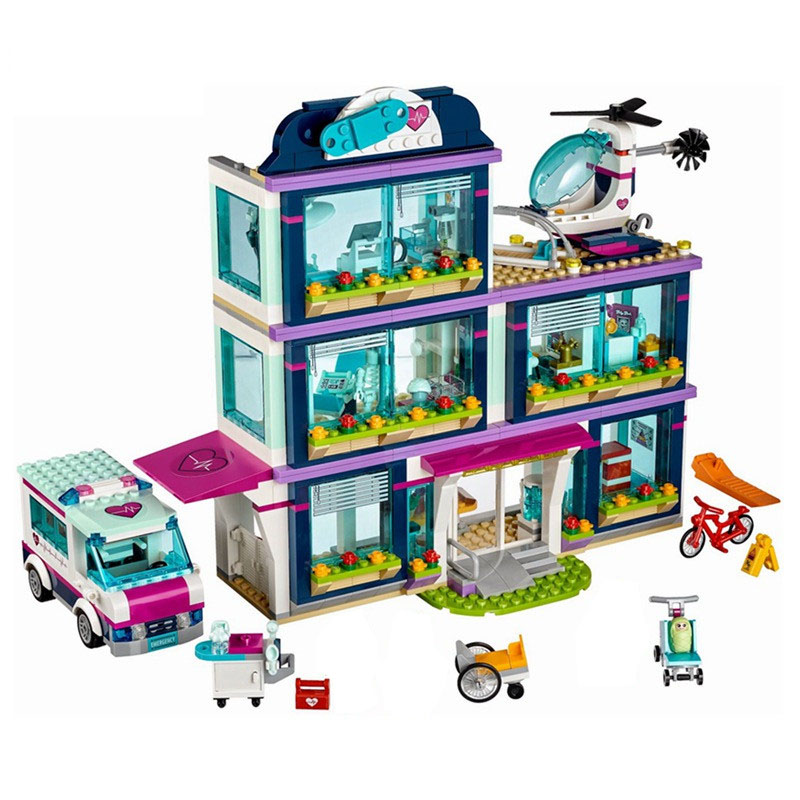 01039 amigos seriesmenina 932 peças blocos desconstrução de brinquedos tijolos legoinglys heartlake hospital crianças brinquedo