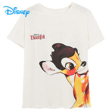 Disney T-Shirt Women Harajuku Bambi Deer Butterfly Cartoon Tshirt Women Vintage 2020 Summer Casual Streetwear Tee O-Neck Tops