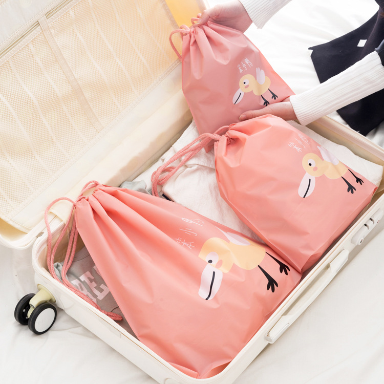 Suitcase Shoes Underwear Travel Storage Bags Cartoon Waterproof Organizer Clothes Packing Drawstring Bag with Rope