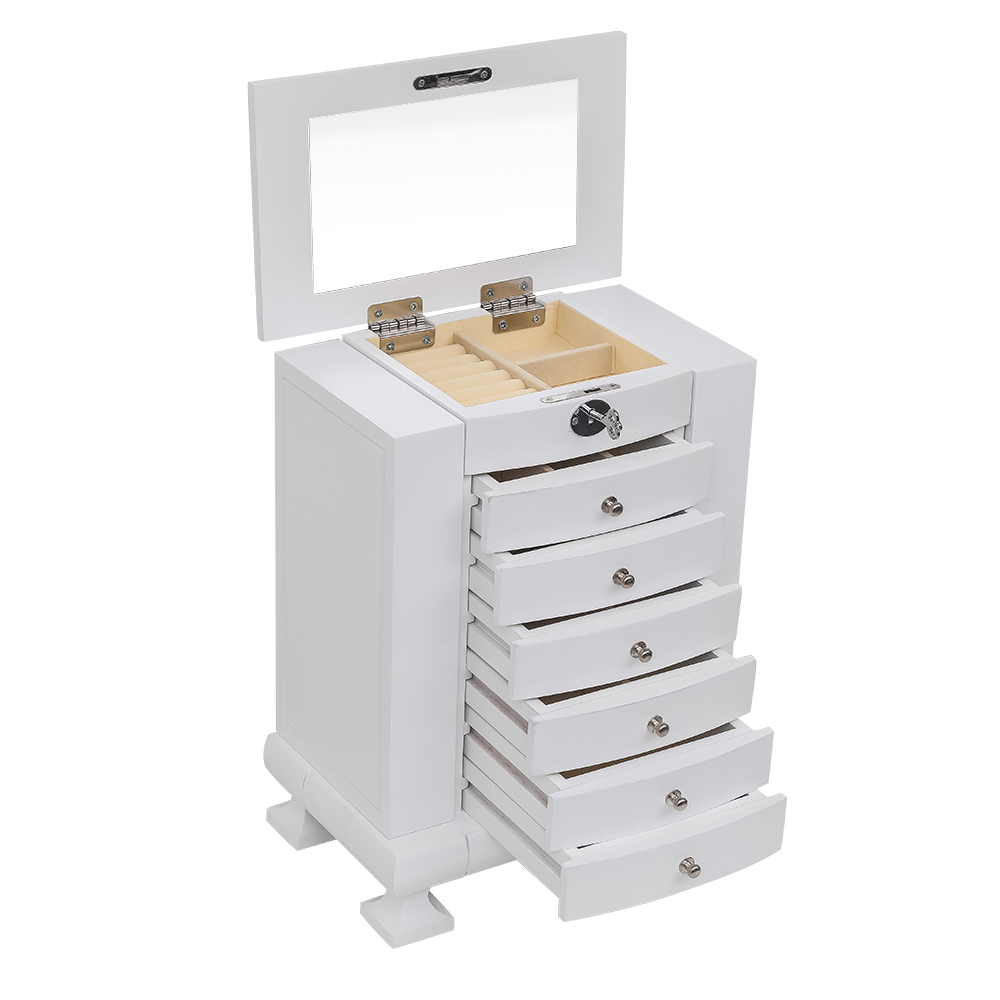 New Handcrafted Wooden Jewelry Box Organizer Wood 8 Layers Case With 7 Drawers White wooden Jewelry