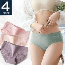 4 Pcs Underwear Women Cotton Panties Sexy Brief Lace Underpants Cute Briefs Girls Ladies Lingerie Erotic Knickers Female 2021