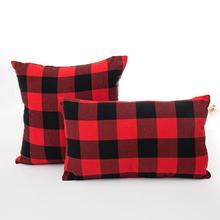 Christmas Red-black Plaid Soft Pillow Cover Case Cushion Sofa Bed Car Cafe Decor