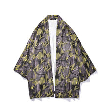 Summer thin cardigan jacket abstract Chinese-style men's three-quarter-length sleeve shirt robes Japanese-style loose kimono Chi(China)