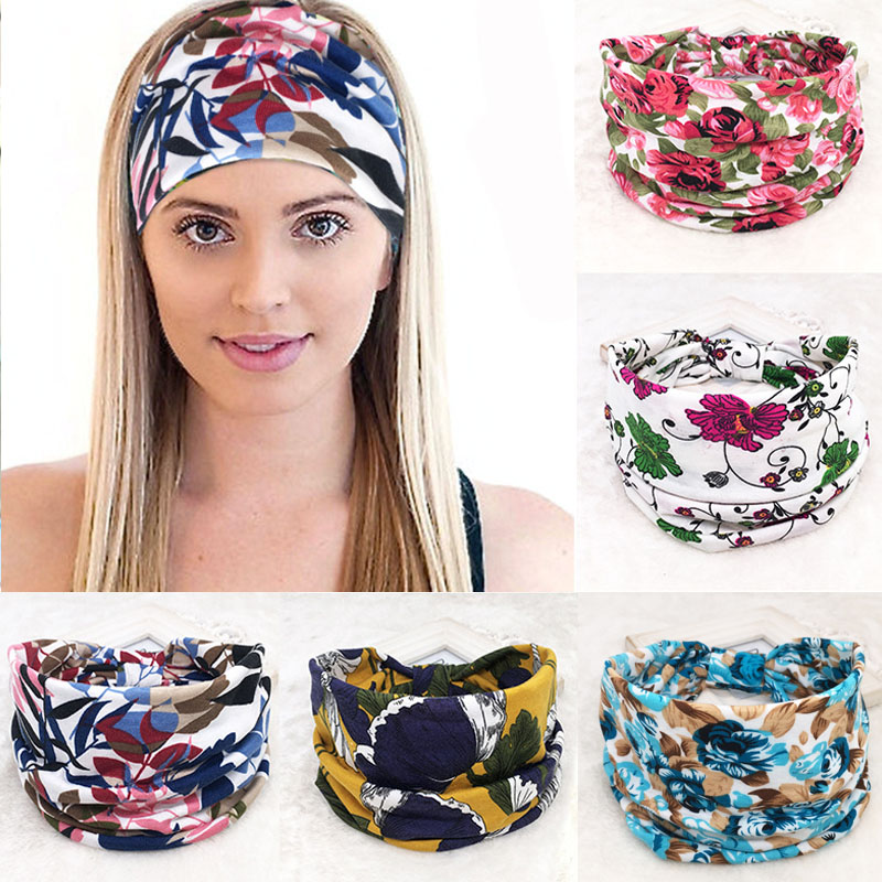 Fashion Wide Stretch Hair Bands BOHO Cotton Solide Color Leopard Flower Print Headwrap Sport Headwear For Women Yoga Bandana