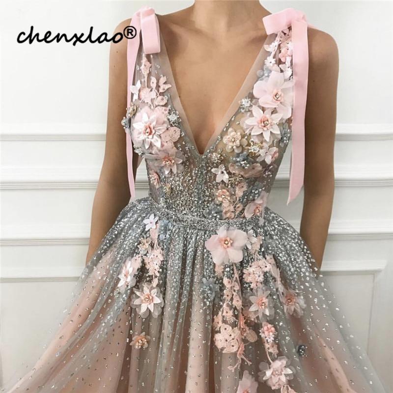 Pink-V-Neck-Diamond-Pearls-Sexy-Evening-Dresses-Handmade-Flowers-Sleeveless-Tulle-Evening-Gowns-2019-Serene
