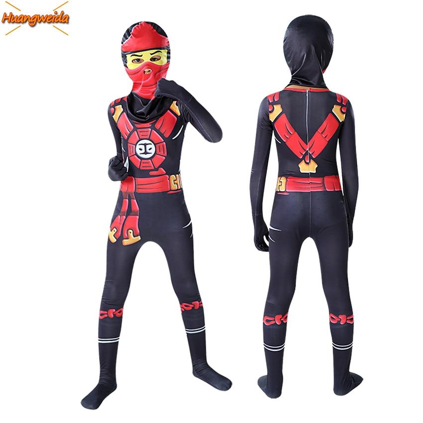 Ninja Costume Kid Jumpsuits Halloween Costumes for Kids Fancy Party Dress Cosplay Anime Ninja Superhero Bodysuit Masquerade